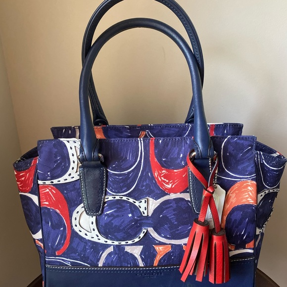 Blue Red Orange White Canvas and Leather Satchel